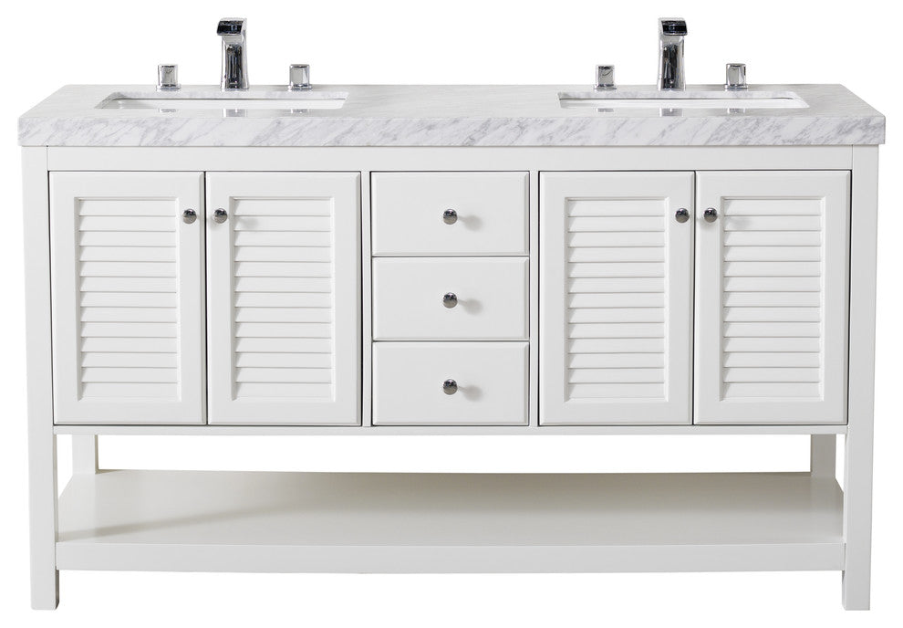 Luthor 60 Inch White Double Sink Bathroom Vanity W/Drains & Faucets-Matte Black - Pot Racks Plus