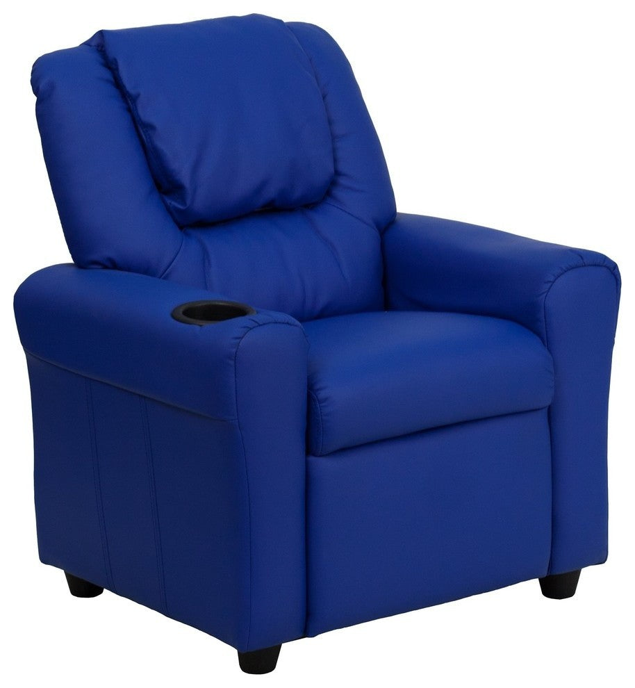 Flash Furniture   Contemporary Blue Vinyl Kids Recliner with Cup Holder and Headrest - Pot Racks Plus