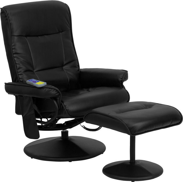 Flash Furniture   Massaging Multi-Position Recliner with Side Pocket and Ottoman in Black LeatherSoft - Pot Racks Plus