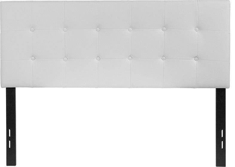 Lennox Tufted Upholstered Full Size Headboard in White Vinyl