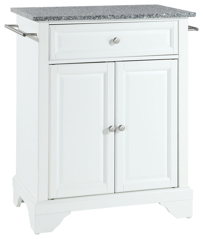 LaFayette Solid Granite Top Portable Kitchen Island, White Finish - Pot Racks Plus