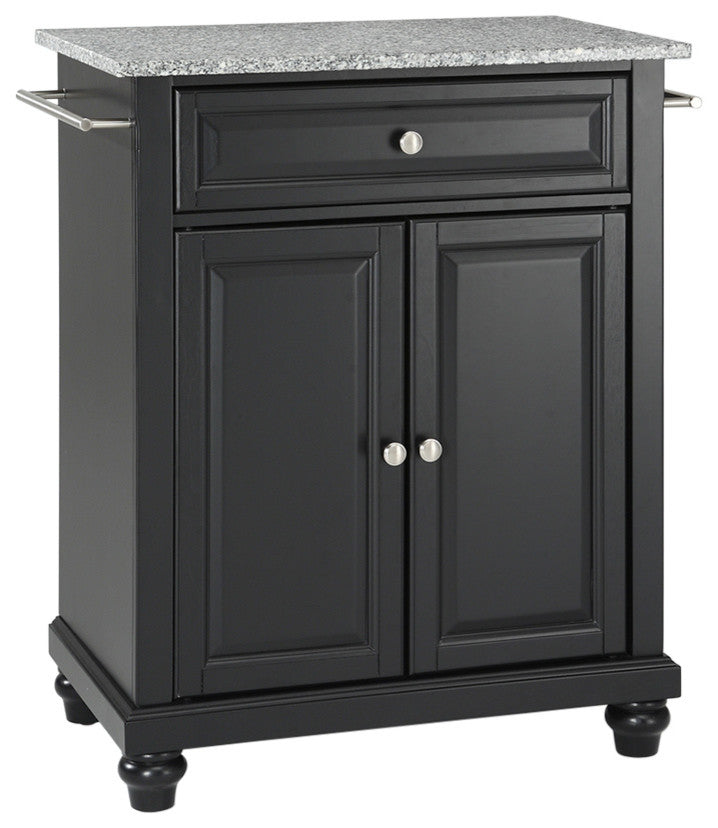 Cambridge Solid Granite Top Portable Kitchen Island, Black - Pot Racks Plus