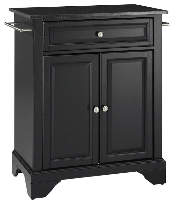 LaFayette Solid Black Granite Top Portable Kitchen Island, Black Finish - Pot Racks Plus