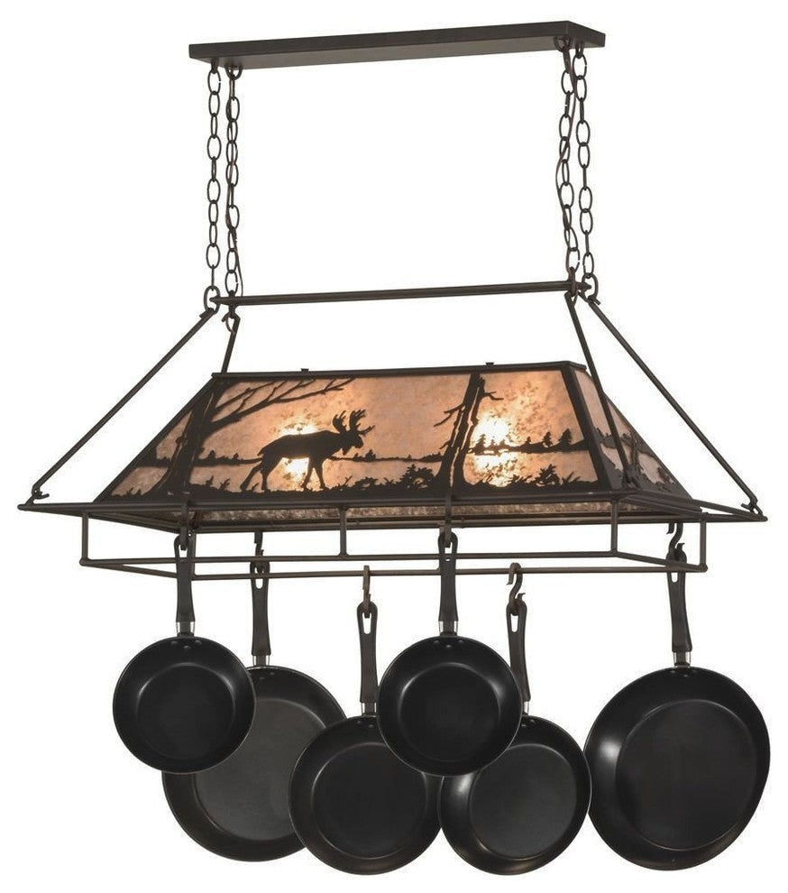 "39""L Moose at Lake Pot Rack - Pot Racks Plus"