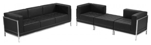 HERCULES Imagination Series Black LeatherSoft Sofa & Lounge Chair Set, 4 Pieces