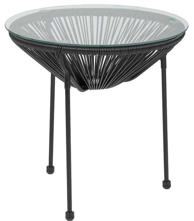 Valencia Oval Comfort Series Take Ten Black Rattan Table with Glass Top