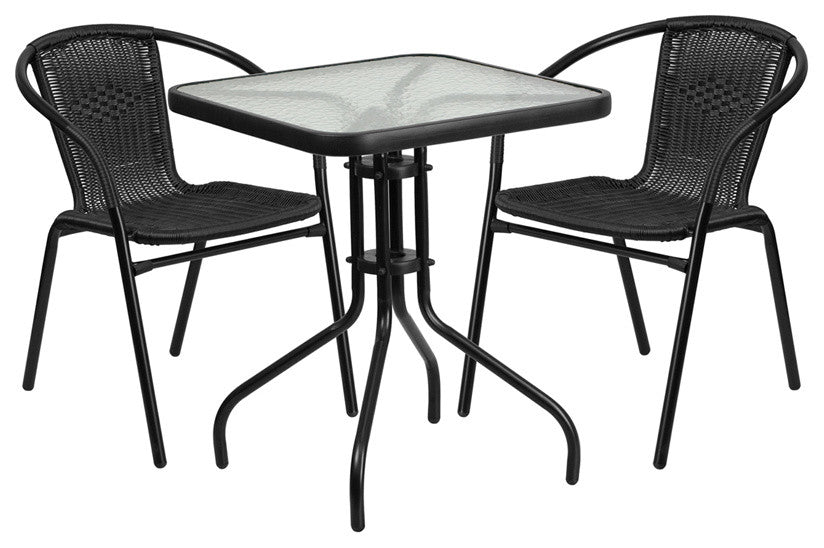 23.5'' Square Glass Metal Table with 2 Black Rattan Stack Chairs
