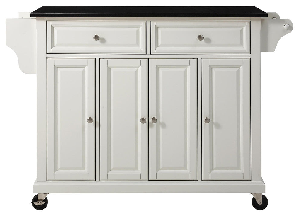 Solid Black Granite Top Kitchen Cart, Island, White Finish - Pot Racks Plus