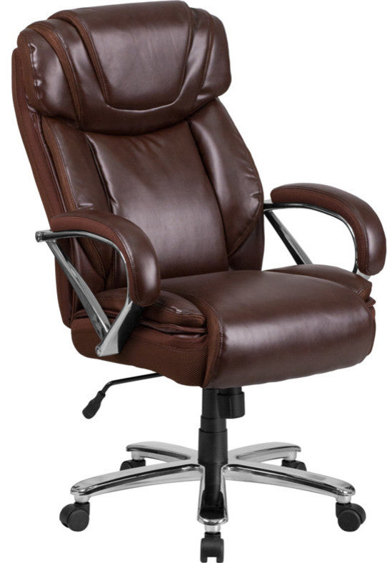 HERCULES Series Big & Tall 500 lb. Rated Brown LeatherSoft Executive Swivel Ergonomic Office Chair with Extra Wide Seat