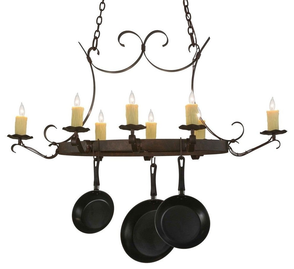 "51""L Handforged Oval 8 Light Pot Rack - Pot Racks Plus"