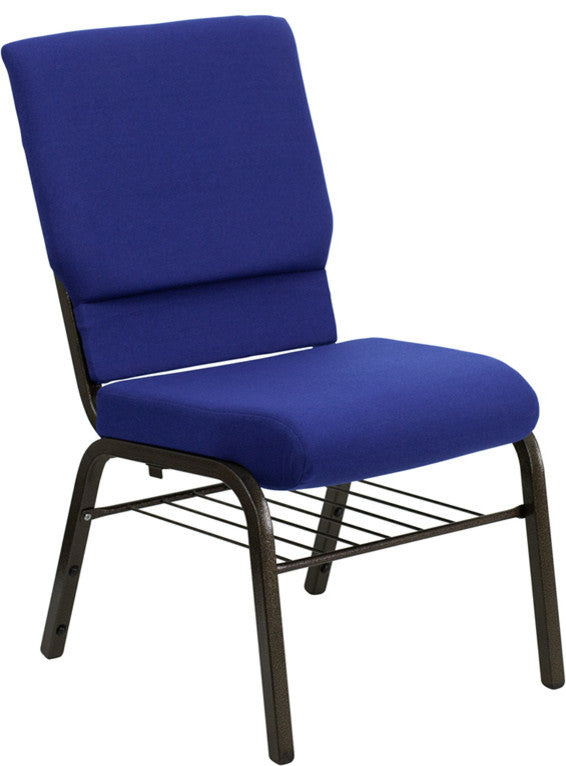 HERCULES Series 18.5''W Church Chair in Navy Blue Patterned Fabric with Book Rack - Gold Vein Frame