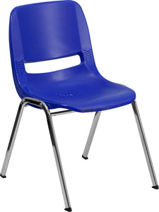 "HERCULES Series 440 lb. Capacity Kid's Navy Ergonomic Shell Stack Chair with Chrome Frame and 14"" Seat Height"