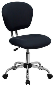 Mid-Back Gray Mesh Padded Swivel Task Office Chair with Chrome Base
