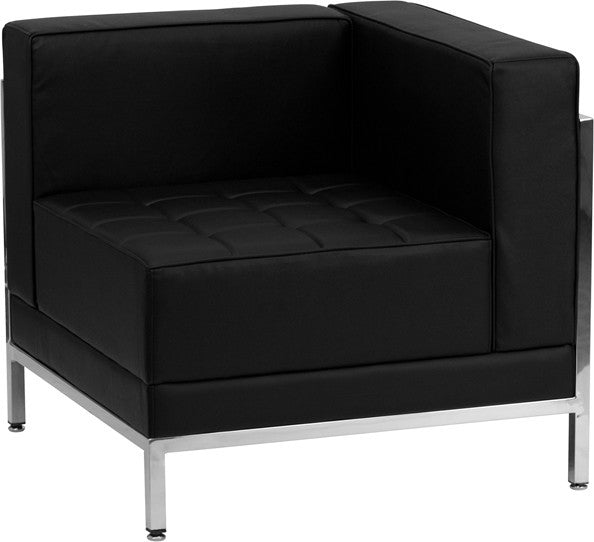 HERCULES Imagination Series Contemporary Black LeatherSoft Right Corner Chair with Encasing Frame