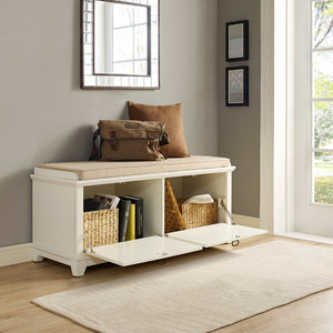 Adler Entryway Bench, White - Pot Racks Plus