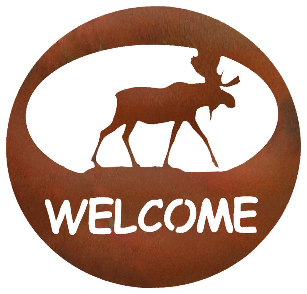 Moose Welcome Circle-Rust Patina - Pot Racks Plus