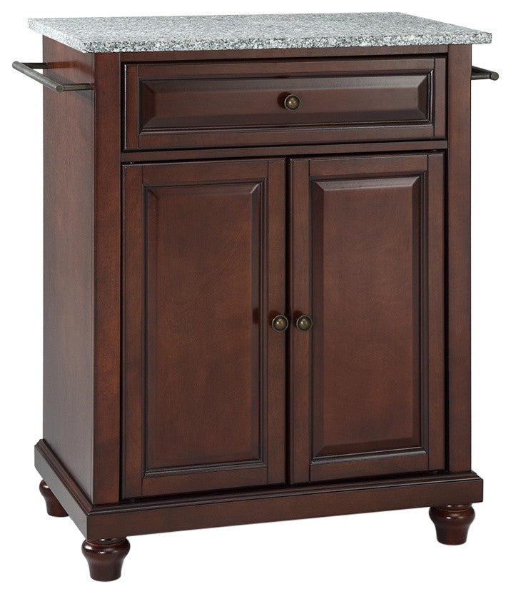 Cambridge Solid Granite Top Portable Kitchen Island, Vintage Mahogany Finish - Pot Racks Plus