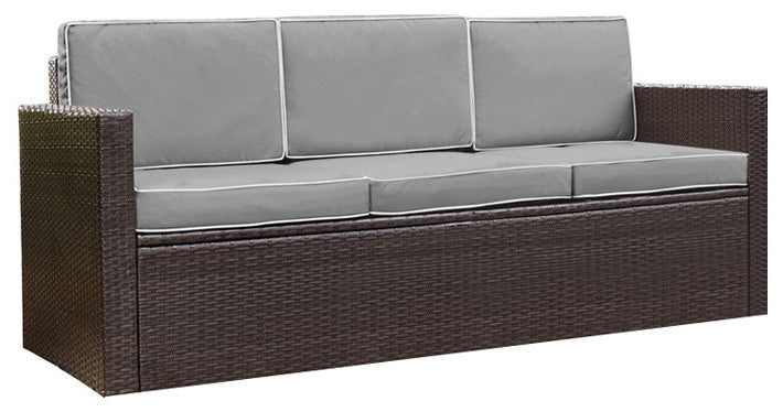 Palm Harbor Outdoor Wicker Sofa, Brown With Gray Cushions - Pot Racks Plus