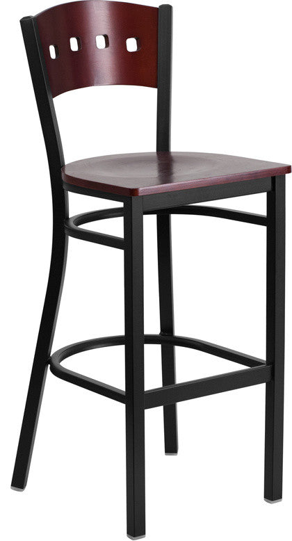 HERCULES Series Black 4 Square Back Metal Restaurant Barstool - Mahogany Wood Back & Seat
