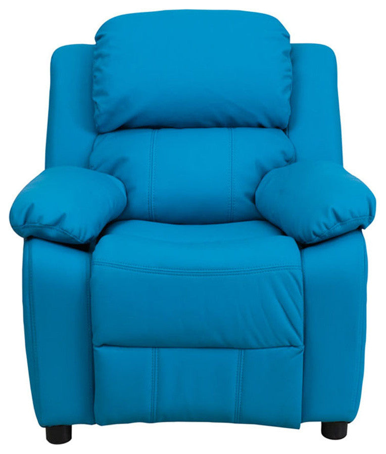 Flash Furniture   Deluxe Padded Contemporary Turquoise Vinyl Kids Recliner with Storage Arms - Pot Racks Plus