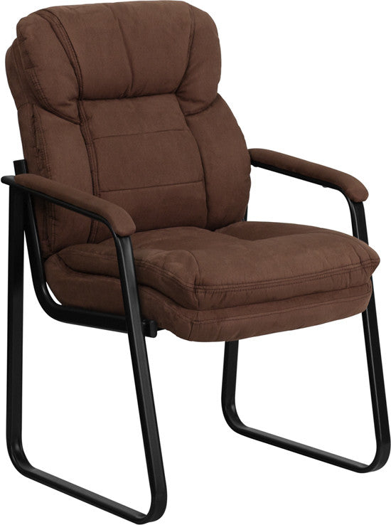 Brown Microfiber Executive Side Reception Chair with Lumbar Support and Sled Base