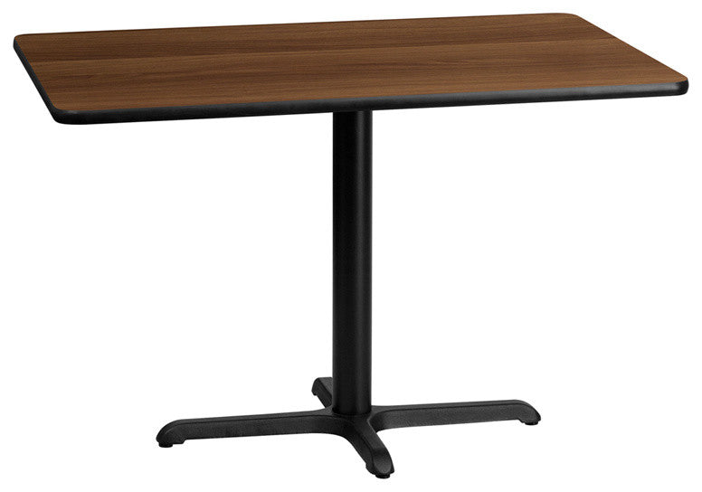 30'' x 45'' Rectangular Walnut Laminate Table Top with 23.5'' x 29.5'' Table Height Base
