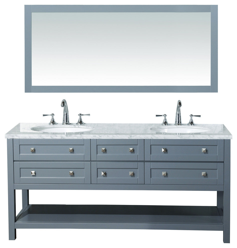 "Cadence Bathroom Vanity With Mirror, Gray, 22""x60""x34.5"" - Pot Racks Plus"