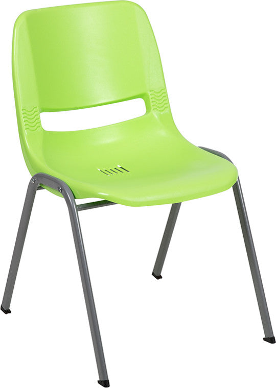HERCULES Series 880 lb. Capacity Green Ergonomic Shell Stack Chair with Gray Frame