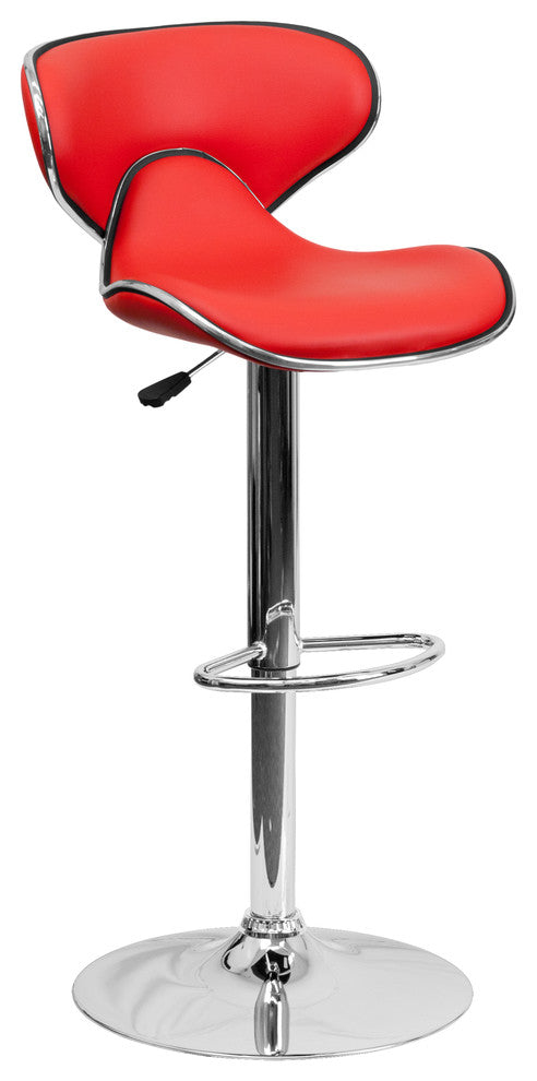 Contemporary Cozy Mid-Back Red Vinyl Adjustable Height Barstool with Chrome Base