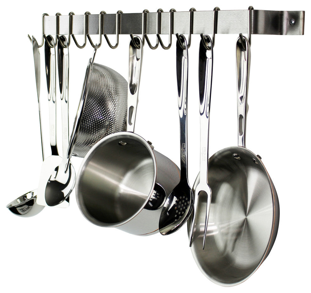 "36"" Easy Mount Wall Rack Utensil Bar With 6 Hooks, Stainless Steel - Pot Racks Plus"