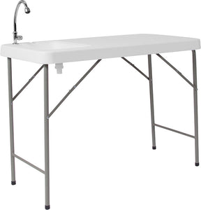 4-Foot Granite White Plastic Folding Table with Sink