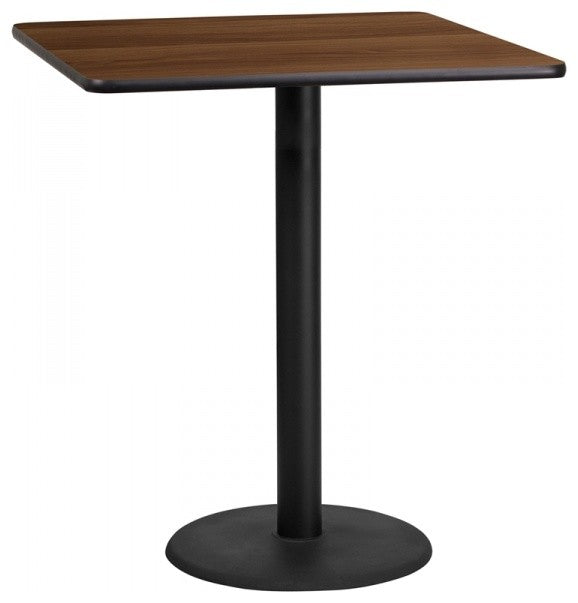 36'' Square Walnut Laminate Table Top with 24'' Round Bar Height Table Base