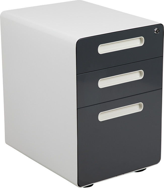 Ergonomic 3-Drawer Mobile Locking Filing Cabinet with Anti-Tilt Mechanism & Letter/Legal Drawer, White with Charcoal Faceplate