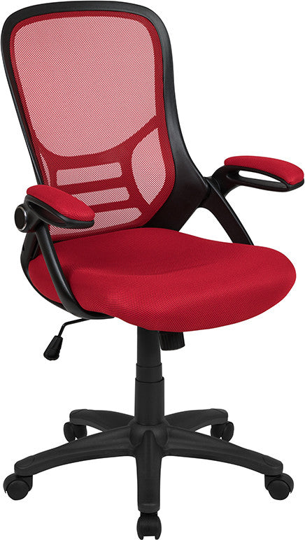 High Back Red Mesh Ergonomic Swivel Office Chair with Black Frame and Flip-up Arms