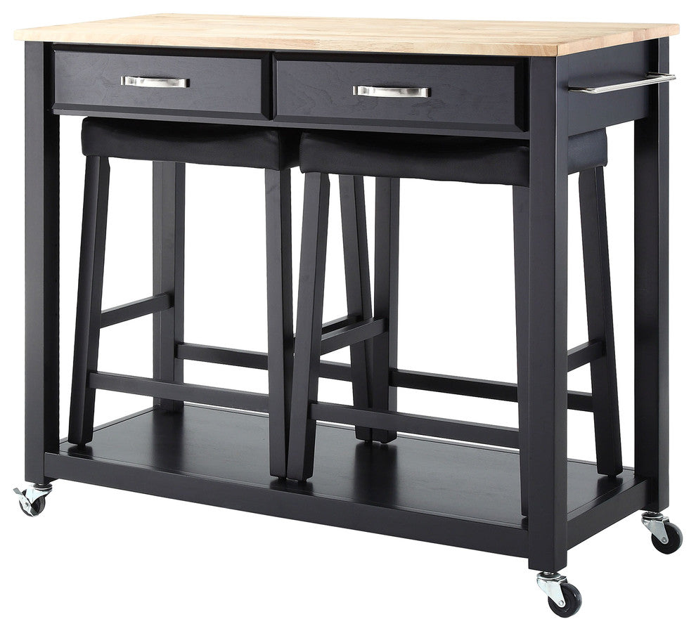 "Natural Wood Top Kitchen Cart, Island, Black Finish With 24"" Black Upholstered - Pot Racks Plus"