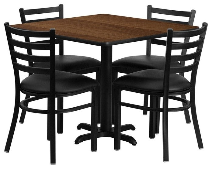 36'' Square Walnut Laminate Table Set with X-Base and 4 Ladder Back Metal Chairs - Black Vinyl Seat