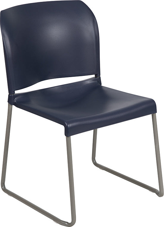 HERCULES Series 880 lb. Capacity Navy Full Back Contoured Stack Chair with Gray Powder Coated Sled Base