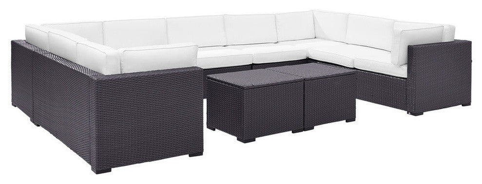 Biscayne 9 Person Wicker 4 Loveseats, 1 Armless Chair, 2 Coffee Tables, White - Pot Racks Plus