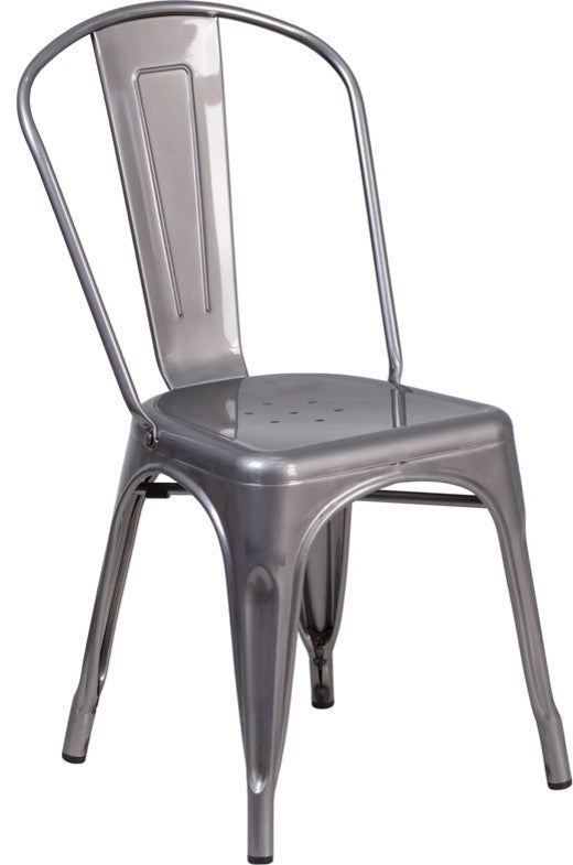 Clear Coated Metal Indoor Stackable Chair