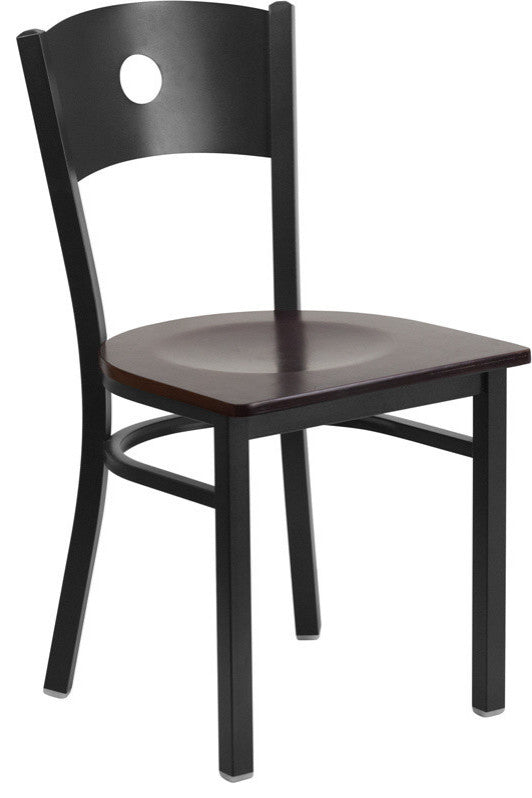 HERCULES Series Black Circle Back Metal Restaurant Chair - Walnut Wood Seat