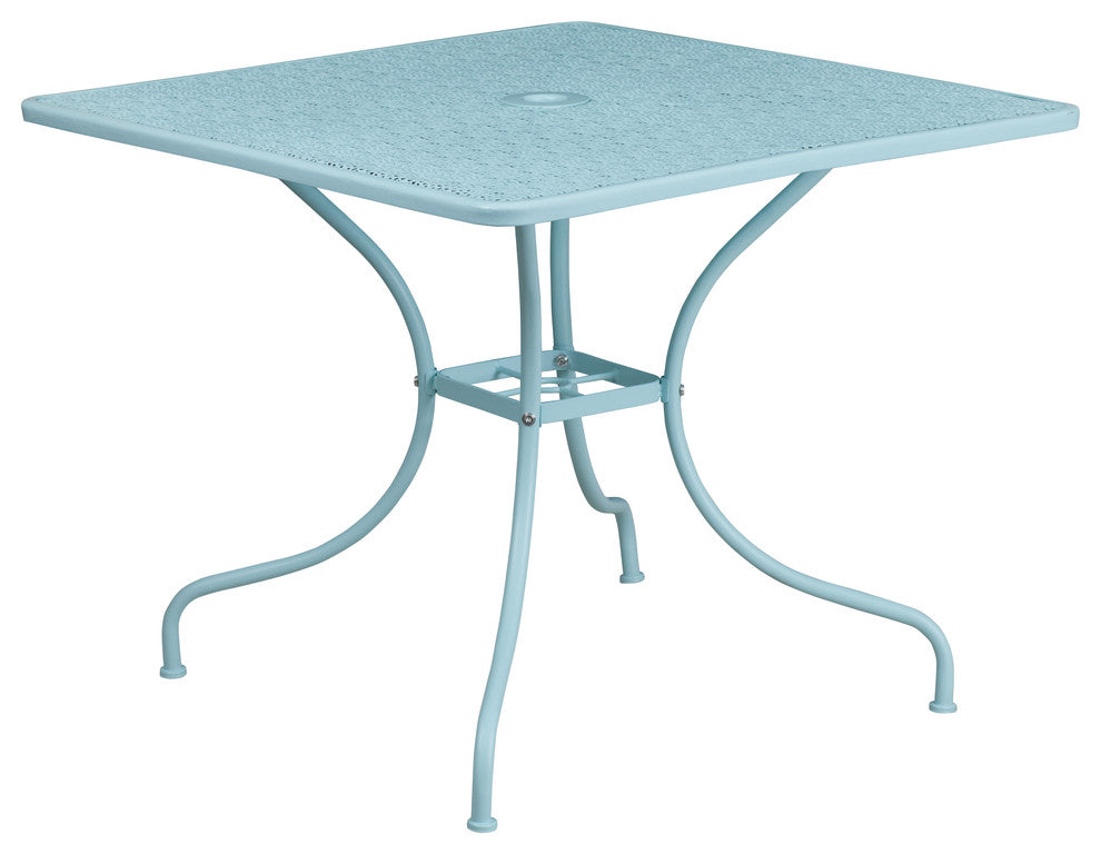 "Commercial Grade 35.5"" Square Sky Blue Indoor-Outdoor Steel Patio Table"