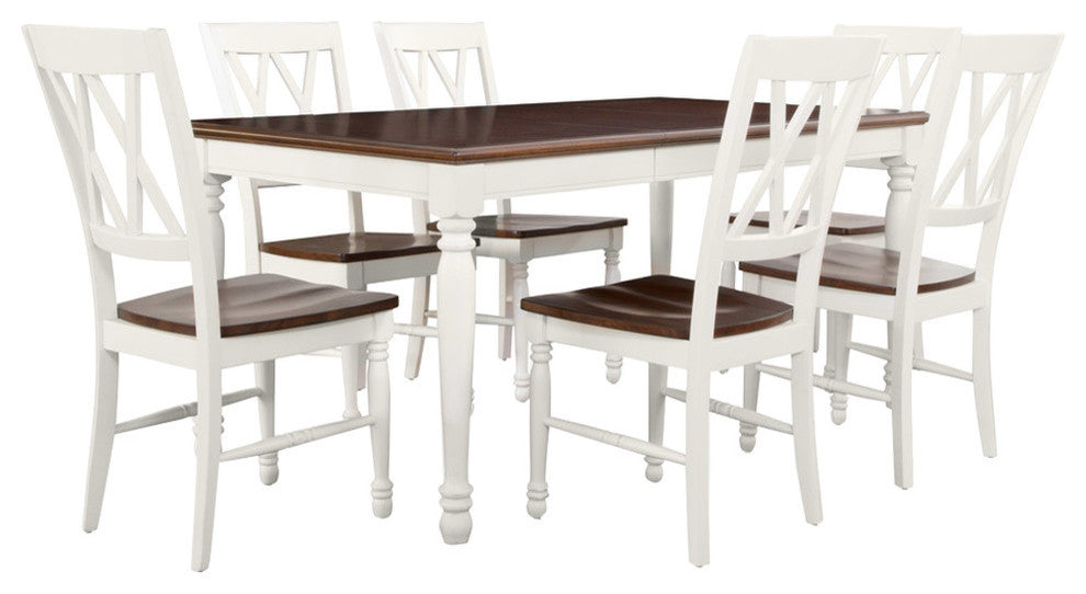 Shelby 7-Piece Dining Set, White Finish - Pot Racks Plus