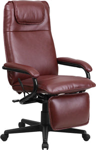 High Back Burgundy LeatherSoft Executive Reclining Ergonomic Swivel Office Chair with Arms