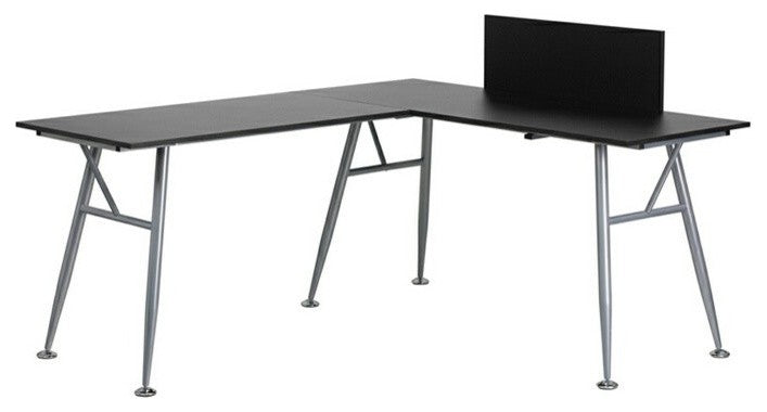Black Laminate L-Shape Computer Desk with Silver Metal Frame