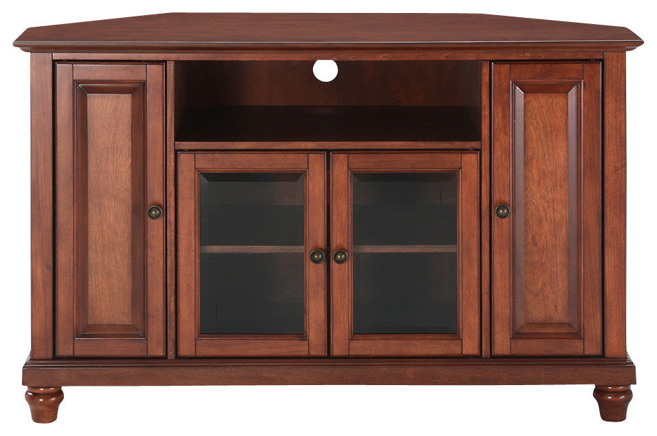 "Cambridge 48"" Corner TV Stand, Classic Cherry Finish - Pot Racks Plus"