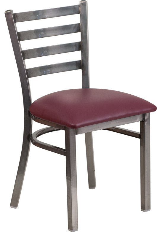 HERCULES Series Clear Coated Ladder Back Metal Restaurant Chair - Burgundy Vinyl Seat