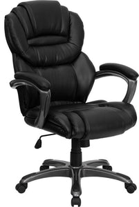 Mid-Back Black LeatherSoft Overstuffed Swivel Task Ergonomic Office Chair with Arms