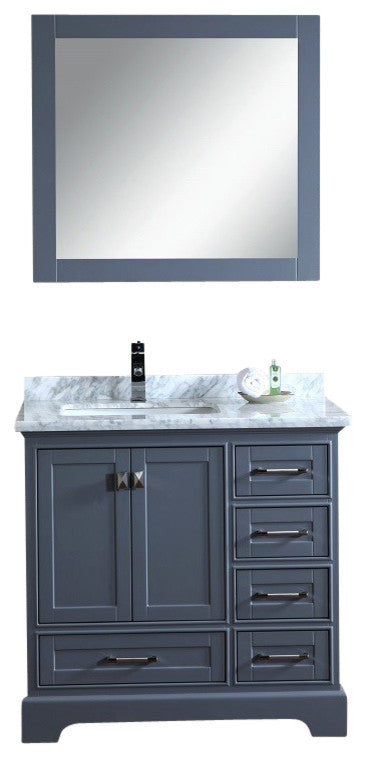 Newport Gray 48 inch Single Sink Bathroom Vanity with Mirror - Pot Racks Plus