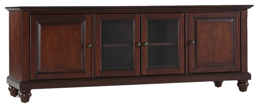 "Cambridge 60"" Low Profile TV Stand, Vintage Mahogany Finish - Pot Racks Plus"