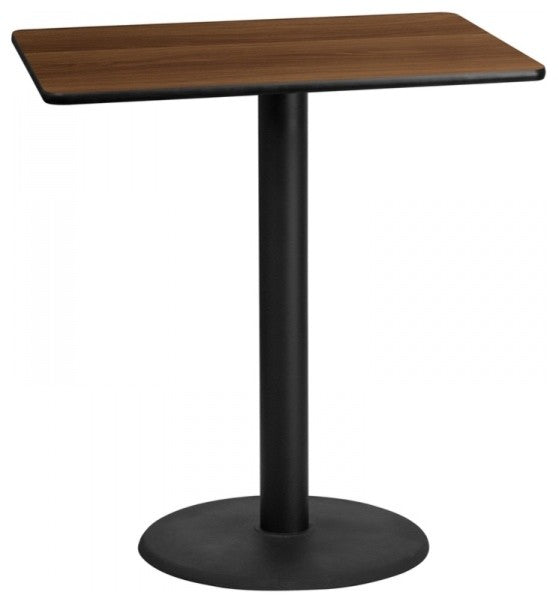 30'' x 42'' Rectangular Walnut Laminate Table Top with 24'' Round Bar Height Table Base